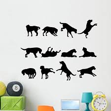 Amazon Com Wallmonkeys Dog Silhouette Wall Decal Peel And Stick Graphic Wm42576 24 In W X 19 In H Home Kitchen