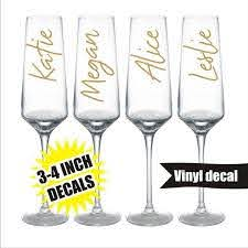 Custom Name Champagne Flutes Decal Glass Diy Decal Etsy