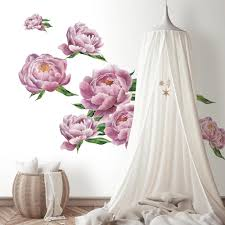 Roommates Pink Green Large Peony Peel And Stick Giant Wall Decals Rmk3893gm The Home Depot