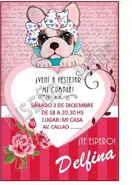 Invitacion Digital Imprimible Perritos Simones Shabby Chic Invitaciones Digitales Perro Simones Tarjetas De Cumpleanos Infantiles