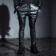 slim black leather pants lacing casual