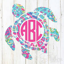 Lilly Sea Turtle Monogram Decal Sew Southern Designs