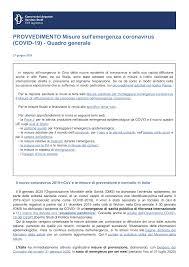 Misure sull'emergenza coronavirus (COVID-19) - Quadro generale