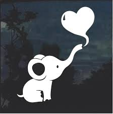 Dumbo Baby Elephant Heart Cute Window Decal Sticker Custom Sticker Shop