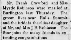 Frank Crawford Myrtle Robinson wedding - Newspapers.com