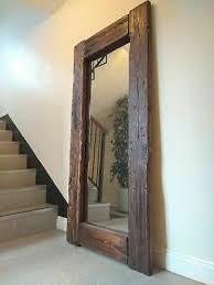 rustic reclaimed wood floor mirror