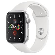 Apple Watch Series 5 GPS, 44mm Silver Aluminum Case with White Sport Band -  Regular - Apple
