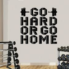 Go Hard Or Go Home Gym Quote Wall Decal Motivational Phrase Fitness Club Wall Decor Bodybuilding Stickers Boys Room Wl1092 Beratsrfaeda343