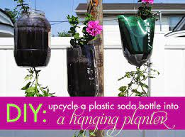 hanging planter with a recycled plastic