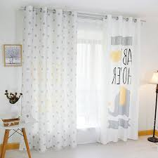 White Cute Polka Dots Elephant Curtains For Kids Room