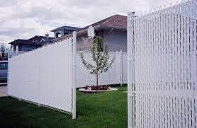 Tall White Chain Link Fence With White Privacy Slats Fence Slats Chain Link Fence Chain Link Fence Privacy