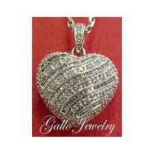 baguette round diamond heart pendant