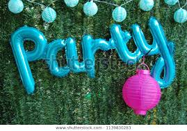 Party Written Pale Blue Balloons Hung Stock Photo Edit Now 1139830283