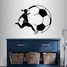Amazon Com In Style Decals Wall Vinyl Decal Home Decor Art Sticker Girl Woman Player Soccer Football Kicking Ball Sports Room Removable Stylish Mural Unique Design 488 Home Kitchen