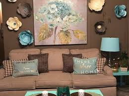 brown art wall decor teal and bedroom