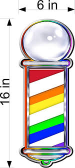 Amazon Com Pair Of 16 Tall Rainbow Style Barber Pole Vinyl Decals For Salon Shop Window Wall Nice Graphic Kitchen Dining