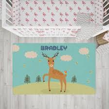 Nursery Rug Personalized Rug Kids Rug Woodland Animal Rug Etsy
