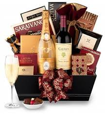 cristal chagne basket luxury wine