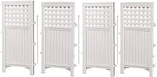Amazon Com Suncast 4 Enclosure Freestanding Steel Resin Reversible Panel Outdoor Screen Tre 4 Panles Pack Of 1 White Outdoor Decorative Fences Garden Outdoor