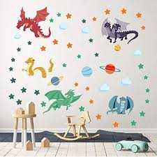 Amazon Com Decalmile Cute Dragon Wall Decals Planets Stars Wall Stickers Playroom Boys Bedroom Kids Room Wall Decor Home Kitchen