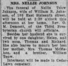 Obituary for NELLIE JOHNSON MRA - Newspapers.com
