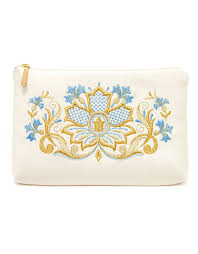 gold embroidered makeup bag