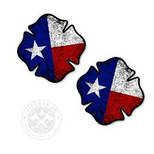 Texas Flag Maltese Tattered 2 Sticker Pack Fireman Up