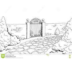 Wall Fence Gate Landscape Graphic Black White Sketch Illustration Stock Vector Illustration Of Elegance Black 80938183