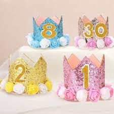 Big Offer 721fe Happy First Birthday Party Hats Decor Cap One Birthday Hat Princess Crown Year Old Number Baby Kids Hair Accessory Fy Seamon Co