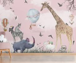 Kids Watercolor Woodland Animals With Giraffe Zebra Hippopotam Wallpaper Mural Wallmur