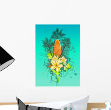 Abstract Tropical With Surfboard Wall Decal Wallmonkeys Com