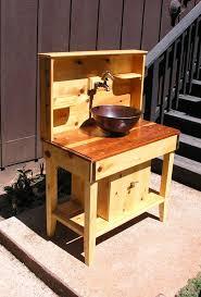 custom cedar potting bench water