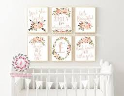 Lot 6 Baby Printable Wall Art Monogram Initial Personalized Birth Announcement Gift Water Pink Forest Cafe