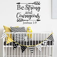 Battoo Joshua 1 9 Be Strong And Courageous Nursery Wall Decal Quote Arrows Vinyl Wall Decal Bible Verse Boy Room Scripture Wall Decal Vinyl Lettering Black 17 5 Wx16 H Buy Products Online With