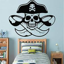 Amazon Com Pirate Wall Decals For Boys Room Pirate Ship Jolly Roger Map Crossbones Pirate Decorations For Home Nursery Room Pirate Door Stickers Pi083 Home Kitchen