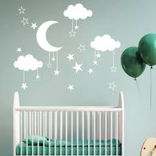 Amazon Com 3d Wall Stickers Tptpt New Pendant Star Moon Cloud Pvc Wall Decal Sticker For Living Room White Home Kitchen