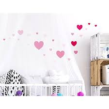 I Love Wandtattoo Was 10121 Wall Stickers Kids Pink Hearts Sticker Wall Decal Girl 25 Piece Click On Pink Wall Stickers Baby Room Wall Nursery Wall Decals