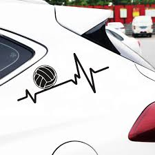 Heartbeat Car Stickers And Decals Volleyball Sticker On Car Styling Car Door Body Window Vinyl Stickers For Car Bumper Stickers Car Stickers Aliexpress
