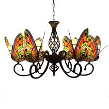 Kids Room Living Room Tiffany Style Stained Glass Chandelier With Butterfly Shaped Lamp Shade 3 Sizes For Option Takeluckhome Com