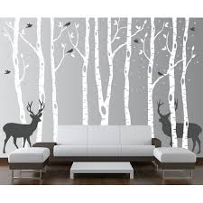 Innovative Stencils Birch Tree Wall Decal Forest With Snow Birds And Deer Vinyl Sticker Removable 9 Trees 84 7ft Tall 1161 Walmart Com Walmart Com
