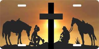 Christian Cowboy Cowgirl Praying Cross Horse Jesus Christ Etsy