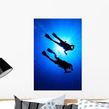 Amazon Com Wallmonkeys Wm125292 Scuba Diving Wall Decal Peel And Stick Graphic 18 In H X 12 In W Home Kitchen