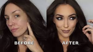 makeup transformation covering acne