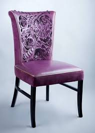 purple leather chair sculpture