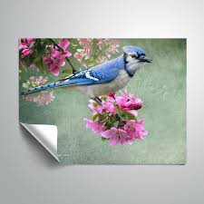 Charlton Home Raggs Bluejay Amid Blooms Removable Wall Decal Wayfair
