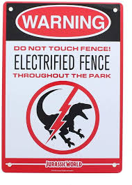 Amazon Com Jurassic World Electrified Raptor Fence Tin Litho Warning Sign Lootcrate March 2017 Exclusive Toys Games