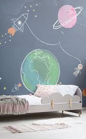 Kids Cartoon Space Rocket Wallpaper Murals Wallpaper In 2020 Cool Kids Bedrooms Kids Bedroom Outer Space Bedroom