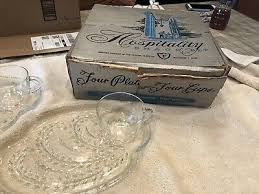 vintage glass snack trays with cups set