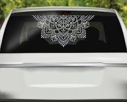 Half Mandala Window Decal Boho Decor Flower Mandala Vinyl Etsy In 2020 Window Decals Personalized Decals Gym Wall Decal