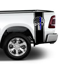 Thin Blue Line Flag Punisher Police Rear Truck Bed Decal Vinyl Stripes Sticker Chicocanvas
